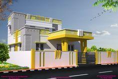SP Associates in Pudukkottai & Bangalore, Home House Projects in Pudukkottai & Bangalore Single Floor House Design, House Front Design, Small House Design, House Elevation, Building Elevation, Front Elevation, Indian House Exterior Design, Independent House, Latest House Designs