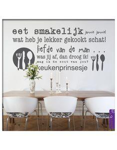 Muursticker Tekst eet smakelijk Kitchen Quotes, Diy Wall Art, Sweet Home, New Homes, Dining Table, Pictogram, Interior Design, Walls, House