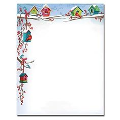 Holiday Stationery for Word   Christmas Birdhouses Holiday Letterhead Printer Paper
