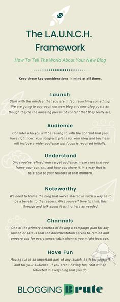 The L.A.U.N.C.H. Framework. How to tell the world about your new blog. Content Marketing, Online Marketing, Digital Marketing, Media Marketing, Blogging For Beginners, News Blog, Pinterest Marketing, Social Media Tips, Business Tips