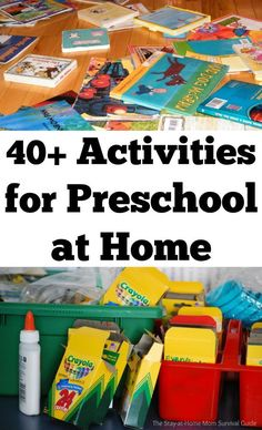 40+ activities to teach preschool at home-these activities are simple to set up and prepared my oldest for kindergarten completely. No need to spend a lot of money on homeschool curriculum for preschool at home.