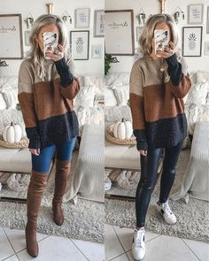 Thanksgiving outfits Thanksgiving Outfit Inspiration and ideas, color block sweater Cute Fall Outfits, Fall Winter Outfits, Autumn Winter Fashion, Fall Fashion, Winter Style, Sweater Fashion, Sweater Outfits, Batman Outfits, Emo Outfits
