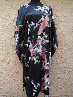 white-black-blue-Chinese-Silk-satin-Womens-Kimono-Robe-Gown-clubs-with-obi