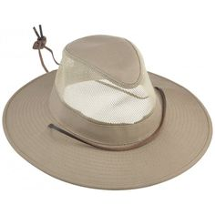e2d8af594a6 Dorfman Pacific Men s 1 Piece Brushed Twill Mesh Safari Hat With Genuine  Leather Trim