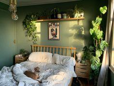 My bedroom this morning : CozyPlaces Bedroom Green, Green Rooms, Room Ideas Bedroom, Bedroom Inspo, Bohemian Bedroom Design, Bed Room Wall Ideas, Zen Bedroom Decor, Green Bedroom Design, Nature Inspired Bedroom