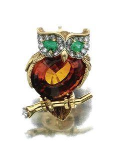 A citrine, emerald and diamond brooch, 1963, Cartier – Sothebys
