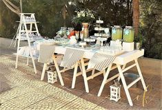 A beautiful dessert table for a baby boy's baptism! Baptism Dessert Table, Baptism Desserts, Dessert Tables, Baby Boy Baptism, Beautiful Desserts, Outdoor Furniture Sets, Outdoor Decor, Photo And Video, Home Decor