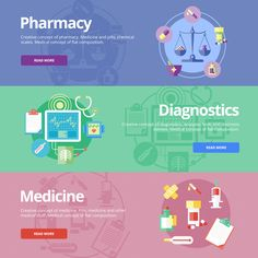 Flat Medical Banners Set by painterr on Creative Market