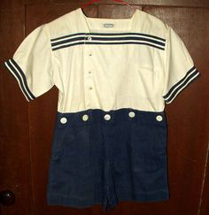 Vintage Child Romper Play Suit Short Pants Button Waist Blue