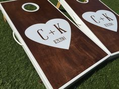 customized wedding cornhole boards with heart and letters | 1000+ images about Custom Wedding Cornhole Boards on Pinterest ...