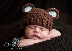 0 to 3 Months Baby Boy Chunky Monkey Flapper Hat Chocolate Brown and Pale Blue Ears. So Cute. Great for photo props. Baby Shower Gift.. $20.00, via Etsy.