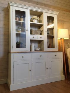 Hand Made Solid Pine Welsh Dresser - Farmhouse Furnishings French Dresser, Welsh Dresser, Shabby Chic Kitchen Dresser, Shabby Chic Furniture, Rustic Shabby Chic, Shabby Chic Homes, Painted Cupboards, Curio Cabinets, Pine Dresser