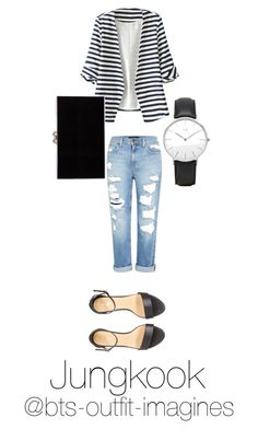 """""""Assistant outfit for Jungkook"""" by bts-outfit-imagines on Polyvore featuring WithChic, Genetic Denim, Charlotte Olympia and Daniel Wellington"""