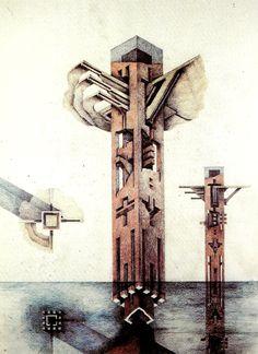 Architecture - architectural drawings-art. — Raimund Abraham  23 de julio de 1933, Lienz,...