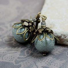 Gray Glass Bead Earrings  CLEARANCE SALE  by carolinascreations, $4.50