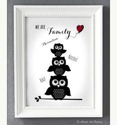 Kunstdruck A4 Eulen Familie Personalisiert