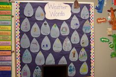 Fun in First Grade: Weather Words - brainstorm words and then children illustrate on rain drops
