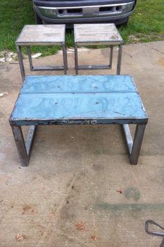 1960 model Chevy truck hood table. Original paint table by artist JROSS. Ross Metal Art