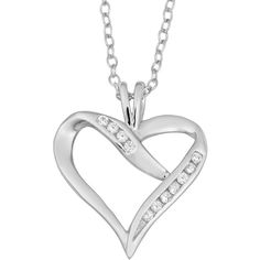 Fremada Rhodium Plated Sterling Silver and Cubic Zirconia Heart... (125 NOK) ❤ liked on Polyvore featuring jewelry, necklaces, silver, sterling silver cubic zirconia necklace, cubic zirconia necklaces, cable chain necklace, sterling silver pendant necklace and round pendant necklace