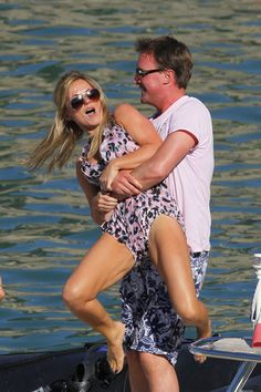 Geri Halliwell and boyfriend wrestle at the beach