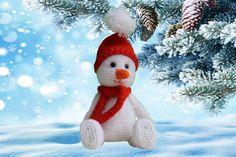 Snowman Christmas Decorations, Great Christmas Gifts, Christmas Snowman, Crochet Snowman, Halloween Crochet, Giraffe Crochet, Friends Season, Knitted Cat, Cat Doll