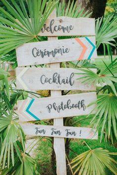 Shooting d'inspiration mariage tropical et coloré en mode Californie Party…