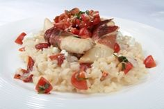 """Red & White Risotto with """"Love Me"""" Chicken Tenders and Tomato-Balsamic Topping"""