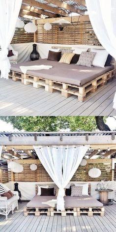 Diy Outdoor Furniture, Diy Pallet Furniture, Diy Pallet Projects, Outdoor Decor, Pallet Ideas, Pallet Patio Furniture, Furniture Makeover, Garden Furniture, Wood Projects