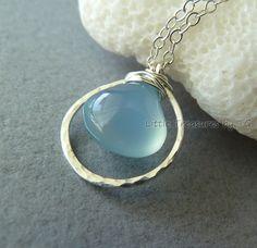 Custom Color Chalcedony Drop Circle Handmade Necklace by TatianaG, $29.00