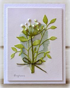 "Rapport från ett skrivbord. Memory Box ""Chloe Stem"" and ""Fresh Foliage"" were used by Birgit in this card."