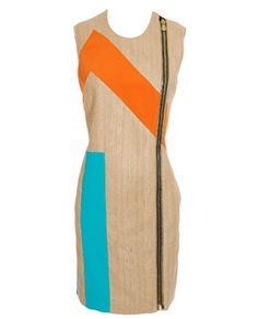 Contrasting Zip Front Dress by Balenciaga: geometric pattern/contrasting color perfection.
