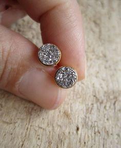 Tiny Silver Druzy Earrings Titanium Drusy Quartz by julianneblumlo