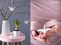 Frühlingsdeko DIY: Origamikraniche aus Modelliermasse