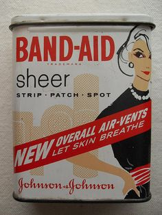 BAND AID SHEER STRIPS VINTAGE 1960s Tin by Christian Montone, via Flickr
