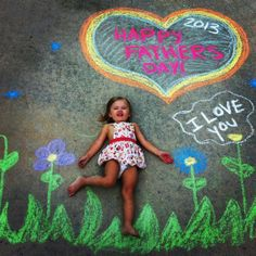 Great Mother's or Father's Day gift idea! I just used chalk on the sidewalk, took the picture, and had it printed! :)