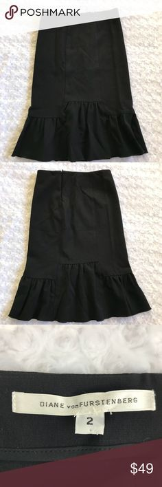"Diane Von Furstenberg Pleated Front Pencil Skirt Diane Von Furstenberg Womens Black Wool Pleated Front Pencil Skirt Size 6 Waist 12"" Lenth 23"" Diane Von Furstenberg Skirts Pencil"