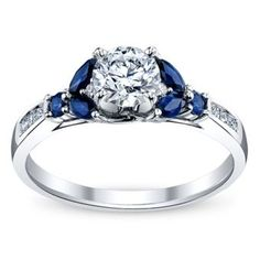14K White Gold Diamond and Sapphire Engagement Ring 5\/8 Carat Total Weight