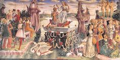 allegory of april, fresco. Plazzo. The triumph of venus.  1470  or 1476  Francesco del Cossa