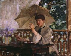 Woman and umbrella - Nainen ja päivänvarjo, Maria Wiik oil Helene Schjerfbeck, Ladies Umbrella, Female Painters, North Europe, Scandinavian, Illustration Art, Artist, Pastel, Women