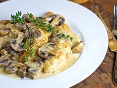 Mushroom Asiago Chicken-A quick and easy gourmet meal that's on the table in less than 30 minutes. The Alfredo-like sauce uses Asiago cheese for a different twist.