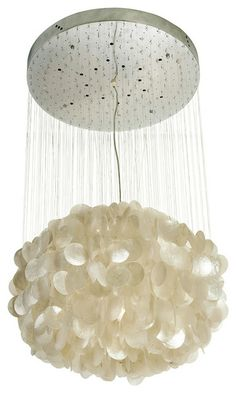 Capiz Seashell Ball-Shaped Chandelier contemporary chandeliers