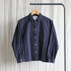Regular Collar Wide Shirt #navy stripe