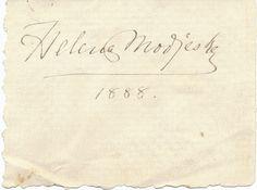 Helena Modjeska Autograph Signature 1888