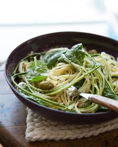 Lemon Pasta with Spinach, Olives, & Zucchini