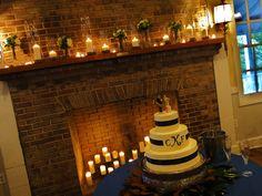 candle light, wedding cake, fireplace