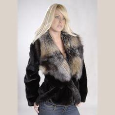 Black SAGA Mink Jacket with Cross Fox collar
