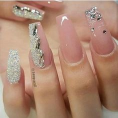 Check these out acrylic nails unghii uñas de gel, uñas nude ș Glam Nails, Dope Nails, Bling Nails, Bling Nail Art, Fabulous Nails, Gorgeous Nails, Pretty Nails, Perfect Nails, Cute Nail Designs