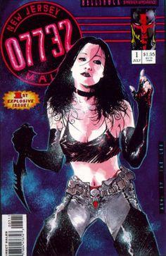 New Jersey 07732 (arte de Jae Lee). Personagem de Shannen Doherty numa revista de logo estilo Image Comics aludindo à série Beverly Hills 90210, que tornaria a atriz famosa.
