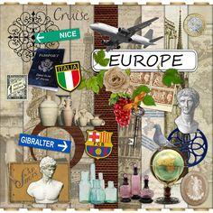 Digital Scrapbook Kit - Europe - Vacation - Travel - Huge Mega Kit 1.6 GB. $7.49, via Etsy.