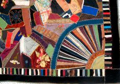 """With a mishmash of fabric scraps sewn together in a seemingly random pattern, crazy quilts echoed the crackled finishes of Japanese porcelain that entranced Exposition attendees; most quilt historians believe that the crazy quilt was named after the ""crazing"" or ""cracked ice"" effect that appeared in Japanese porcelain."" --- I had no idea!"